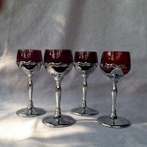 Vintage Krome Kraft Farberware Glasses